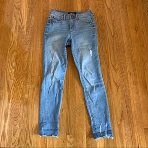 high waisted ankle jeggings light blue wash